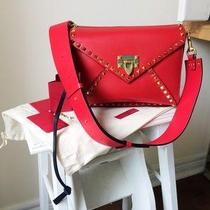 Auth Valentino Garavani Rockstud Red Bag